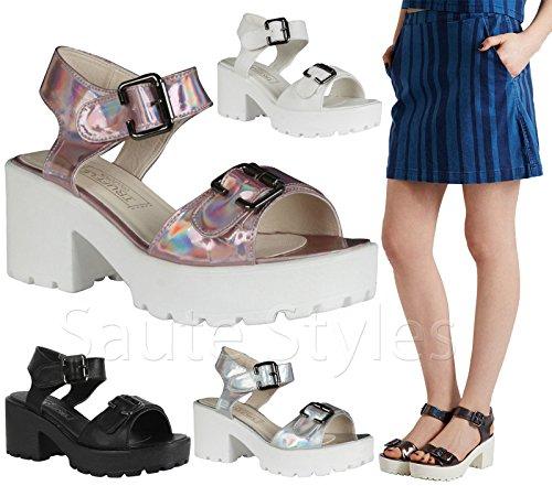 Mesdames Mid Sangle Cheville Talons Hauts Fête bretelles femmes Summer Sandales Chaussures Taille Blanc - White Faux Leather Two Part Cleated Sandals