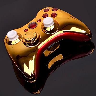 Chrome golden shell case with red buttons Xbox 360