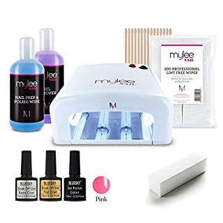 MYLEE 9pc KIT UV 36W Nail Curing Lamp with BLUESKY Top & Base Coat, Mylee Prep+Wipe & Remover 250ml, 1 x Gel Polish Colour of Your Choice, Lint-Free Wipes & More [NEW] (Pastel Blossom)