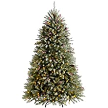 WeRChristmas Pre-Lit Decorated Snow Flocked Christmas Tree with 600 Warm White LED Lights, Green/White, 7 feet/2.1 m