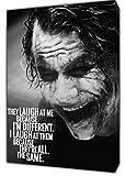 JOKER Lachen Sie AT ME Foto Bild Kunstdruck auf Holz gerahmt Leinwand Art Wand Home Dekoration, 12 x 8inch(30 x 20 cm) -18mm depth
