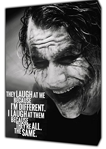 JOKER Lachen Sie AT ME Foto Bild Kunstdruck auf Holz gerahmt Leinwand Art Wand Home Dekoration, 30 x 24 inch(76 x 60 cm)-18mm depth -