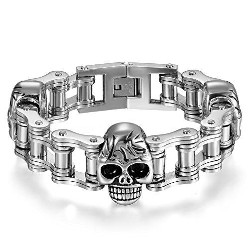 JewelryWe Schmuck Herren Armband Edelstahl Punk Rock Biker Totenkopf Schädel Motorradkette Fahrradkette Armreif Armkette Geschenk Silber