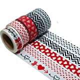 K-LIMIT 5er Set Washi Tape Dekoband Masking Tape Herz Liebe 9544