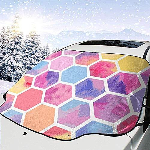 Rosso giallo blu a nido d'ape cerchio anteriore parabrezza auto copertura della neve pieghevole finestra anteriore auto impermeabile adatta per auto,suv e camion,147 * 118 cm
