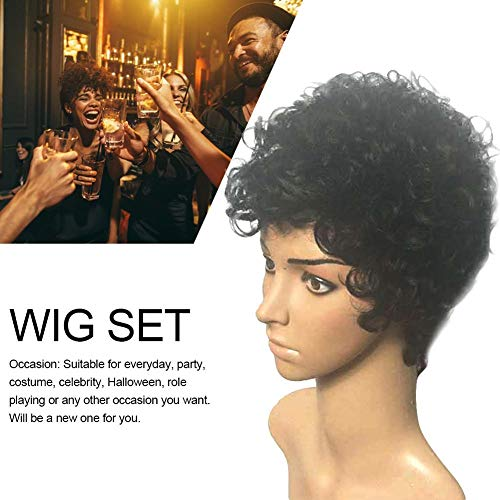 Rikey Black Short Curly Wigs Natural Synthetic Hair Wigs for Women