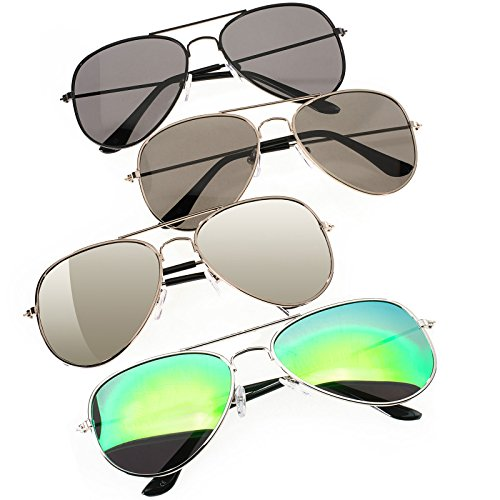 4er SET Damen Herren Pilot Sonnenbrille Spiegelglas Mirrored Brille Linse Grünes, Silber, Lila, Gelb, Blau UV400 Romens Ltd (Pilot 4 Pair Set 1)