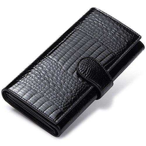 Geldbörse Clutch Portemonnaie Damen Portmonee mit Knopf Lange Groß Karten Brieftasche Damen Handtasche Geldbeutel für Frauen Geldbörsen Schwarz (Elektronische Valentinstag-karten)