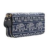 Portemonnaie Damen Lang Geldbeutel Geldtasche Elefant Eule Geldbörse mit Reißverschluss Gürtel Groß KapazitätGeschenk zum Weihnachten