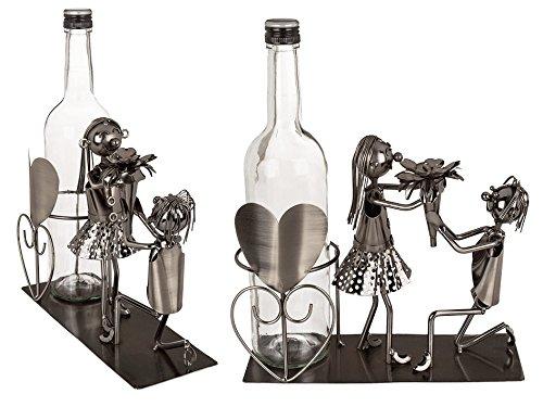 Out of the blue 71/3141 Flaschenhalter, Liebespaar I, Metall, Silber