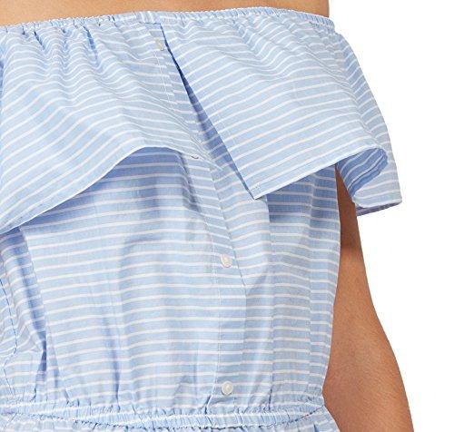 Tom Tailor Denim für Frauen Dress gestreiftes Off-Shoulder-Kleid marina bay blue