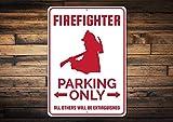 Fhdang Decor Feuerwehr-Parkschild, Feuerwehrmann, Geschenk für Feuerwehrmann, Feuerwehrmann Dekor, Feuerwehrmann Geschenk, Feuerwehrmann Metallschild, 30,5 x 45,7 cm