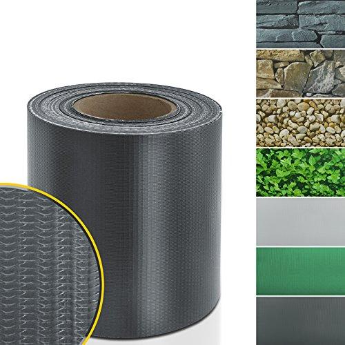 Sichtschutzstreifen PVC | Sichtschutzfolie Gartenzaun oder Balkon | inkl. 20 Befestigungsclips | für Einzel- und Doppelstabmatten geeignet | 19 cm x 35 m | einfarbig oder mit Motiv| Anthrazit