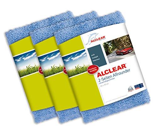 ALCLEAR 820203U Poliertücher 2-Seiten-Allrounder Premium ohne Hologramme, für Auto Yachting und Poliermaschine, 40 x 40 cm, blau ,3er Set (Weichen Trockenen, Fensterleder)