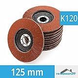 10 Stück Fächerscheiben 125 mm Körnung 120 Fächerschleifscheibe Braun Schleifmopteller