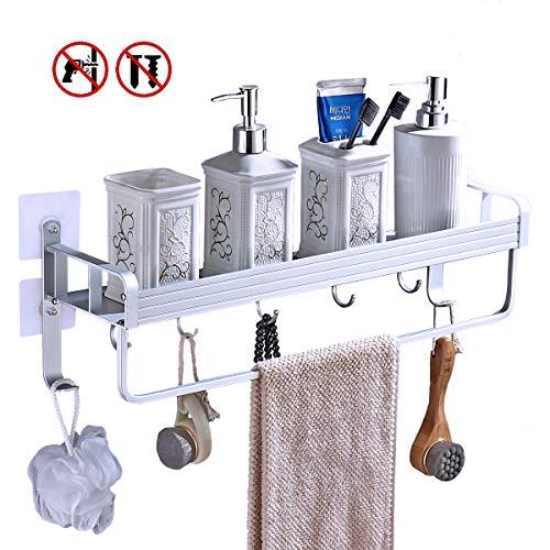 Yeegout selbstklebend duschregalmit Handtuchhalter und Haken, aluminium ohne bohren wandmontage badezimmer regal