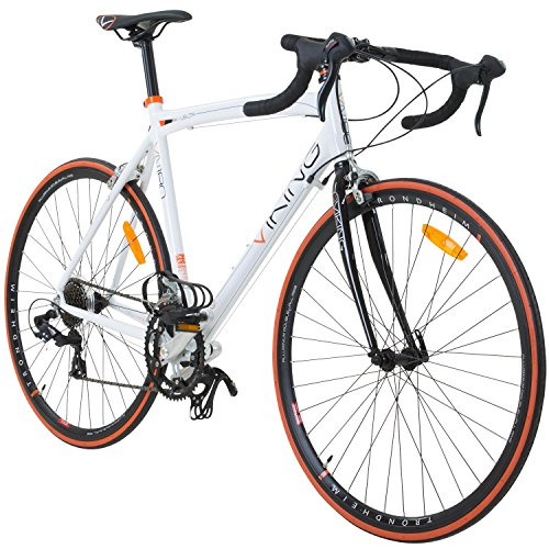 Viking VN196R Vélo de Course Vuelta Sti, 14 vitesses, 28' (71,1 cm) 56 cm weiss/orange