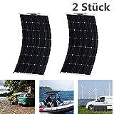SWEEPID 300 Watt (2x150Watt) 18V Flexibles Monokristallin Solarpanel Ladegerät Biegsames Wasserfestes Solar Ladegerät für RV, Boot, Kabine, Zelt, Auto