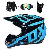 K.D. Moto Motocross Casques, Gants et Lunettes D. O. T Standard Enfants Quad Bike VTT Go Karting Casque Blue Fox, S55~56CM