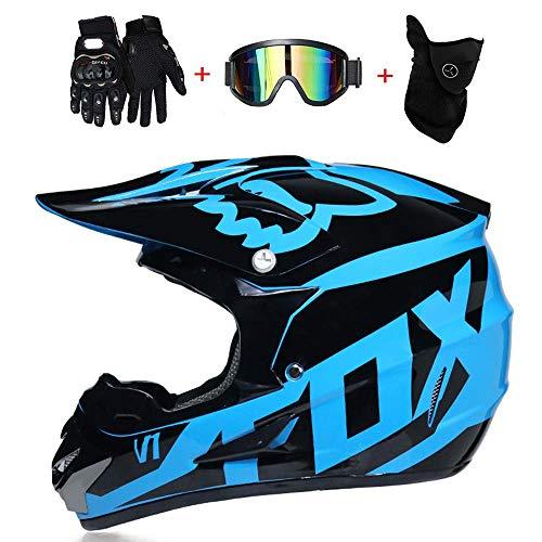 K.D. Moto Motocross Casques, Gants et Lunettes D. O. T Standard Enfants Quad Bike VTT Go Karting Casque Blue Fox, S55~56CM,S55~56
