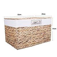 Greenleaves Water Hyacinth Wicker Trunk Nursery Toy Blanket Storage Chest Basket Box Bedside