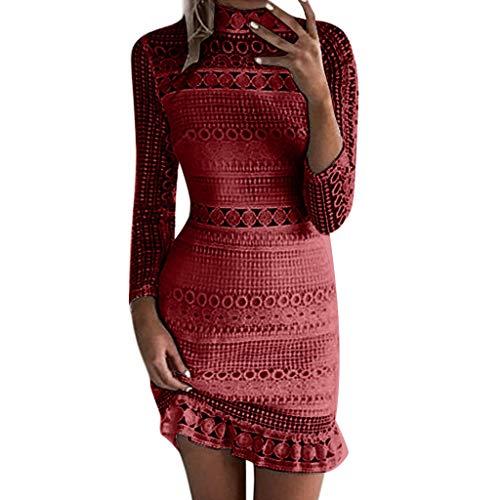 Kleid Damen Kolylong® Frauen Elegant Spitze Ärmelloses Kleid Knielang Vintage Neckholder Spitzenkleid Slim Bleistift Kleid Ballkleid Etuikleid Strandkleid Cocktail Party Kleid Abend (Red-03, L) -