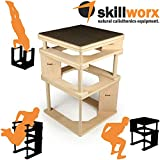 skillworx Plyollettes Set - Raw Edition: 3-in-1 Plyo Box bis 90cm, High Parallettes und Dip Station aus Holz