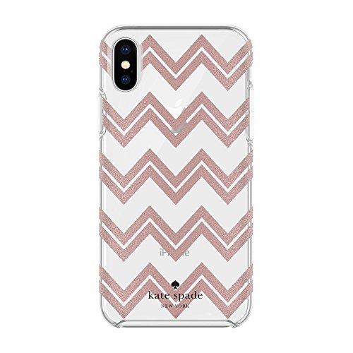 Kate Spade New York Hardshell Case Schutzhülle für Apple iPhone X - Rose Gold Glitter [Transparentes hochglanz Design I Schwarzes Logo I Qi kompatibel] - KSIPH-076CRGGC