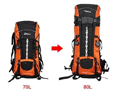 spalle 70L80L alpinismo borse per gli uomini e le donne borsa da viaggio con copertura per la pioggia ( Colore : Arancia , dimensioni : 70L+10L ) Arancia