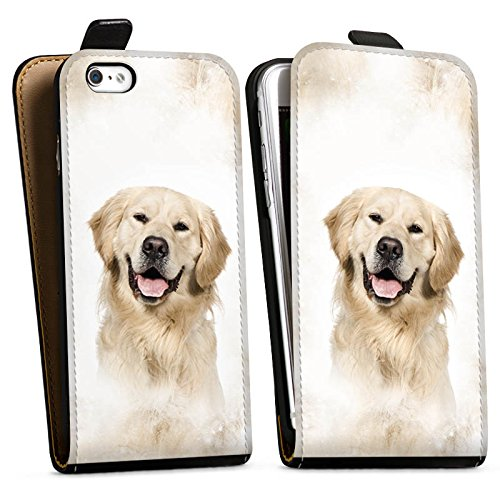 Apple iPhone 6s Plus Silikon Hülle Case Schutzhülle Golden Retriever Hund Dog Downflip Tasche schwarz