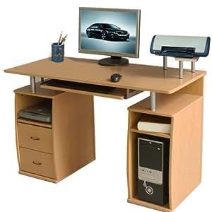 Btm grand bureau robuste 2 tiroirs 4 tag res pour for Grand bureau ordinateur