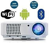 Proiettore Smart HD WIFI LED - HD 720p, Full HD 1080p HDMI Proiettore per Home Cinema, Gaming, Intrattenimento, Multimedia, Home Theatre, Pub, Club, Hotel, Ufficio, Conferenze, Presentazioni PowerPoint - ABIS Modello HD6000 Plus (Bianca)