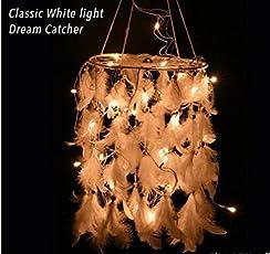 Rooh White Classic Dream Catcher with Mirchi Lights (19 cm x 0.5 cm x 48 cm, White)