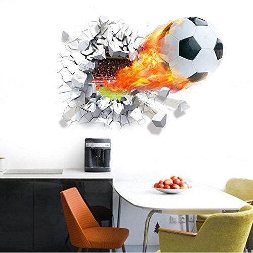 Preisvergleich Produktbild HALLOBO® Wandaufkleber XL 3D Fussball Fußball Sport Fenster Wandtattoo Aufkleber Wandsticker Kinderzimmer Kinder Baby Versand aus Deutschland