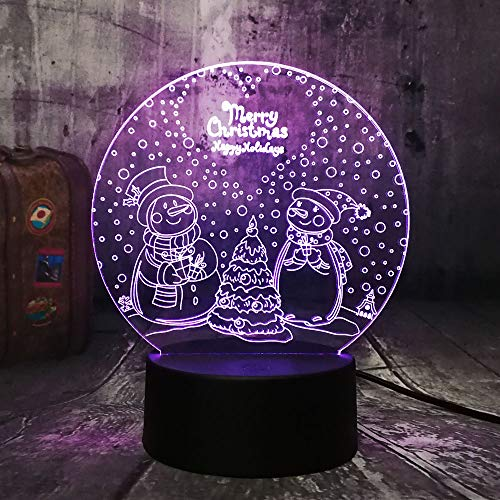 Süße Schöne Zwei Schneemann Frohe Weihnachten 3D Nachtlichter Usb Multicolor Schreibtischlampe Home Decor Kid Geburtstagsgeschenk 3D Nachtlicht
