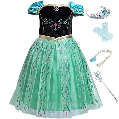 LOBTY Anna Kostüm Prinzessin Mädchen Kleid Eiskönigin Prinzessin Kostüm Kinder Erwachsene Kleid Mädchen Weihnachten Verkleidung Karneval Party Halloween - Anna Kostüm Für Teenager