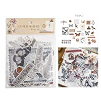 MODEOR Vintage Ephemera Pack,Multiple Themes Vintage Die Cuts 64 PCS Washi Self Adhesive DIY Wall Stickers Ephemera for Scrapbooking/Letters/Notebook/Card/Photo Frame/Cup. (Insect Record)
