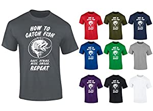 Mens How To Catch Fish Fishing Angling Funny Slogan T-shirt