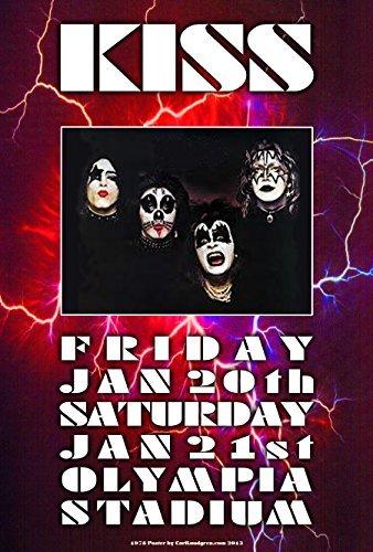 CARL LUNDGREN ART Kiss 1978Tribute Poster 48,3x 33cm Bereit für Display, Lieferung Flach, Beutel und Bord von Grande Ballsaal Poster Künstler Carl Lundgren Bedruckt in Detroit Mi USA (North America Kostüm)