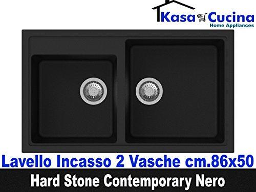 Einbauspüle Küche Hard Stone Contemporary fragranite 2Becken cm.86x 50schwarz