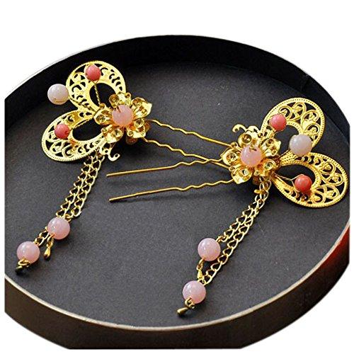 Ensemble de 2 traditionnel chinois cheveux de mariage peignes accessoire, rose