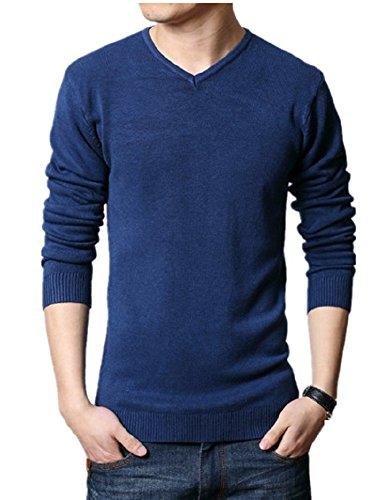 BOMOVO Herren Strickpullover V-Ausschnitt Pullover Sweatshirts Grau Blau
