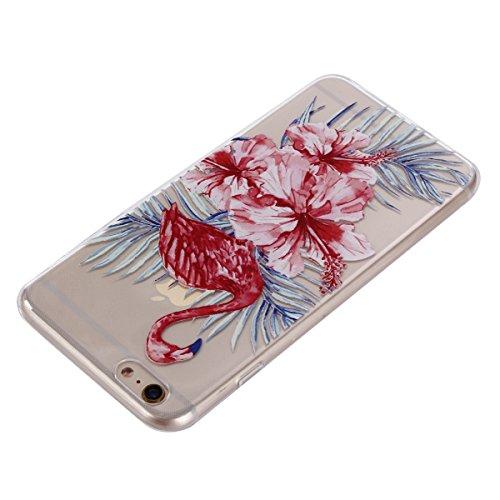iPhone 6 Hülle, Voguecase Silikon Schutzhülle / Case / Cover / Hülle / TPU Gel Skin für Apple iPhone 6/6S 4.7(Paar Flamingo) + Gratis Universal Eingabestift Flamingos und Blumen 01