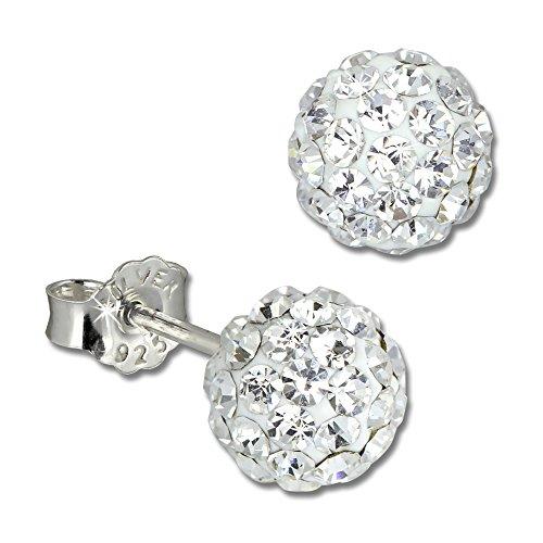 SilberDream Ohrstecker Glitzerkugel 6mm weiß Preciosa Zirkonias Sterling Silber 925 Ohrring GSO2806W