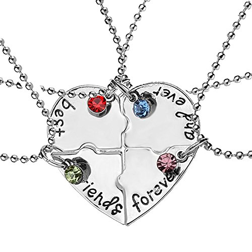 set di 4 collanine dell'amicizia, con ciondolo a forma di cuore, motivo , Best Friends Forever regalo creativo per ragazze,