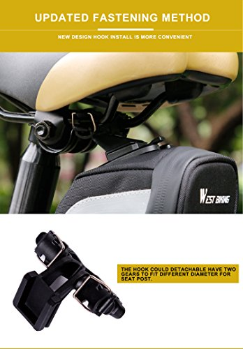 West Radfahren Bike Sitz Tasche Upgrade Haken Wasserdicht Schwanz Tasche Fahrrad Sattel Tasche unter dem Sitz Packungen (3colors) Schwarz