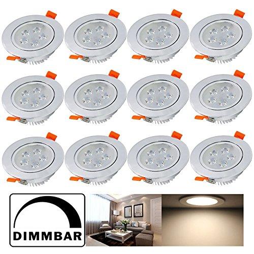 Hengda® 12X 5W LED Einbauleuchte Aluminium für den Wohnbereich Beleuchtung Dimmbar Warmweiß IP44 mit Schwenkbar | Einbau Strahler | Einbaulampen |