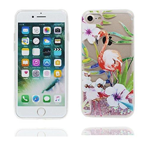"iPhone 7 Coque, Skin Hard Clear étui iPhone 7, Design Glitter Bling Sparkles Shinny Flowing (Flamant Bird) Apple iPhone 7 Case Cover 4.7"", résistant aux chocs Flamant 1"