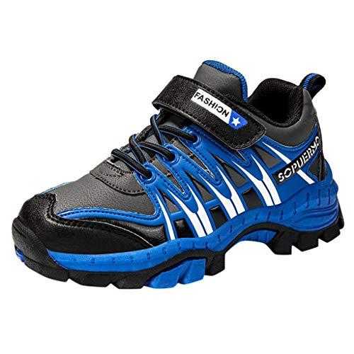 HDUFGJ Kinder Wanderschuhe Jungen Mädchen Trekking Schuhe Stiefel Wanderhalbschuhe Fliegendes Weben Luftkissen Flache Schuhe Faule Schuhe Stoßdämpfung rutschfeste Bequem 36 EU(Blau)