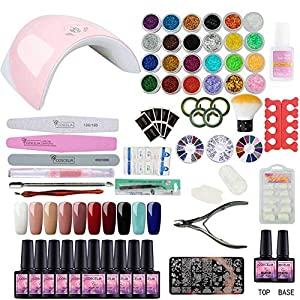 Saint-Acior 10pcs Kit Uñas de Gel Pintauñas Esmalte de Uñas Soak off 8ml Nail Dryer 36W UV/LED Lámpara Uñas Secador de…